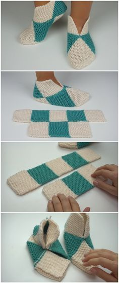 Easy to fold slippers - crochet or knit