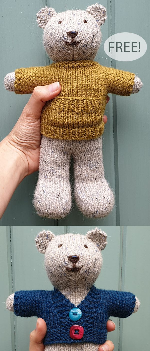 Free Knitting Pattern for Ted the Bear with Wardrobe