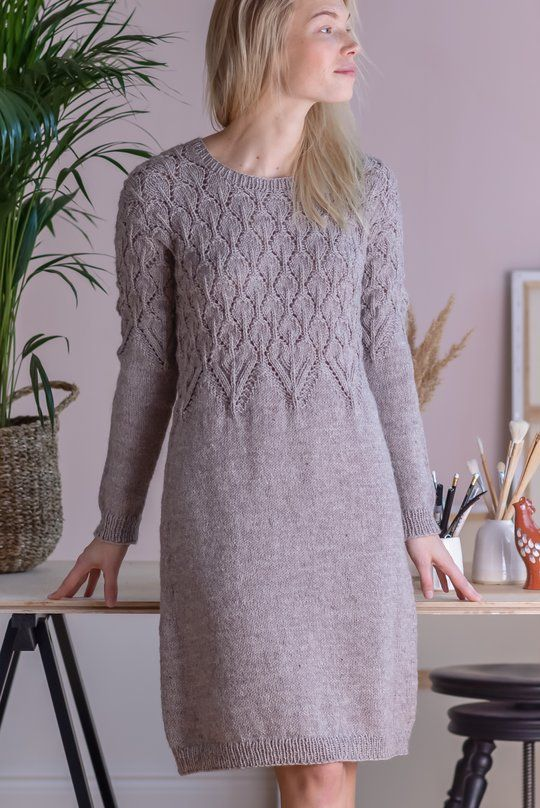 Free Knitting Pattern for a Top Down Dress with Lace Bodice ⋆ Knitting Bee