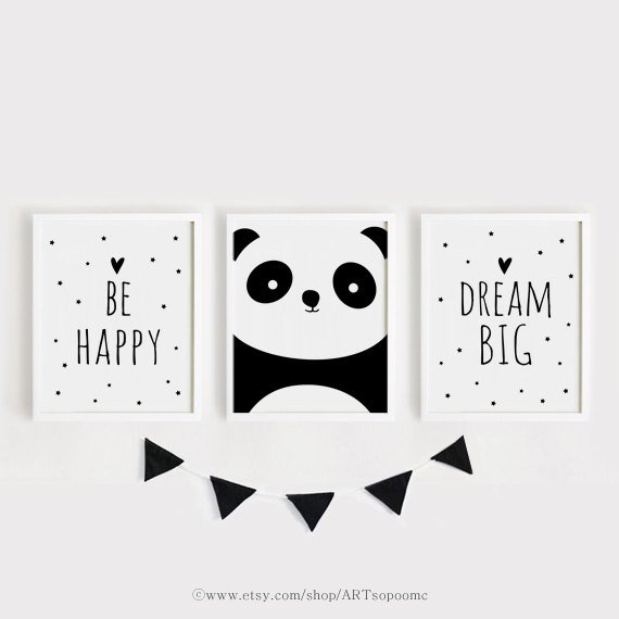 Printable Nursery Art Set of 3 Poster Nursery Wall Art Nursery Decor Black and White Be Happy, Panda, Dream Large Poster Print Set 50x70