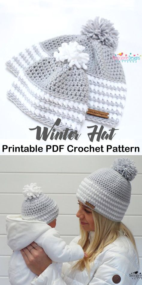 Make a cozy mommy & me hat. beanie crochet patterns - winter hat crochet pattern...