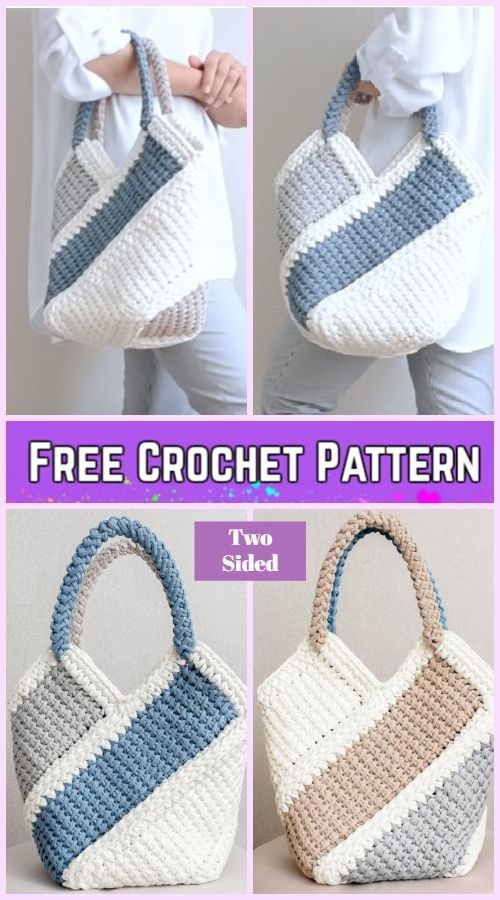 Tunisian Crochet Ten Stitch Handbag Free Crochet Pattern-Video - #Crochet #Free ...