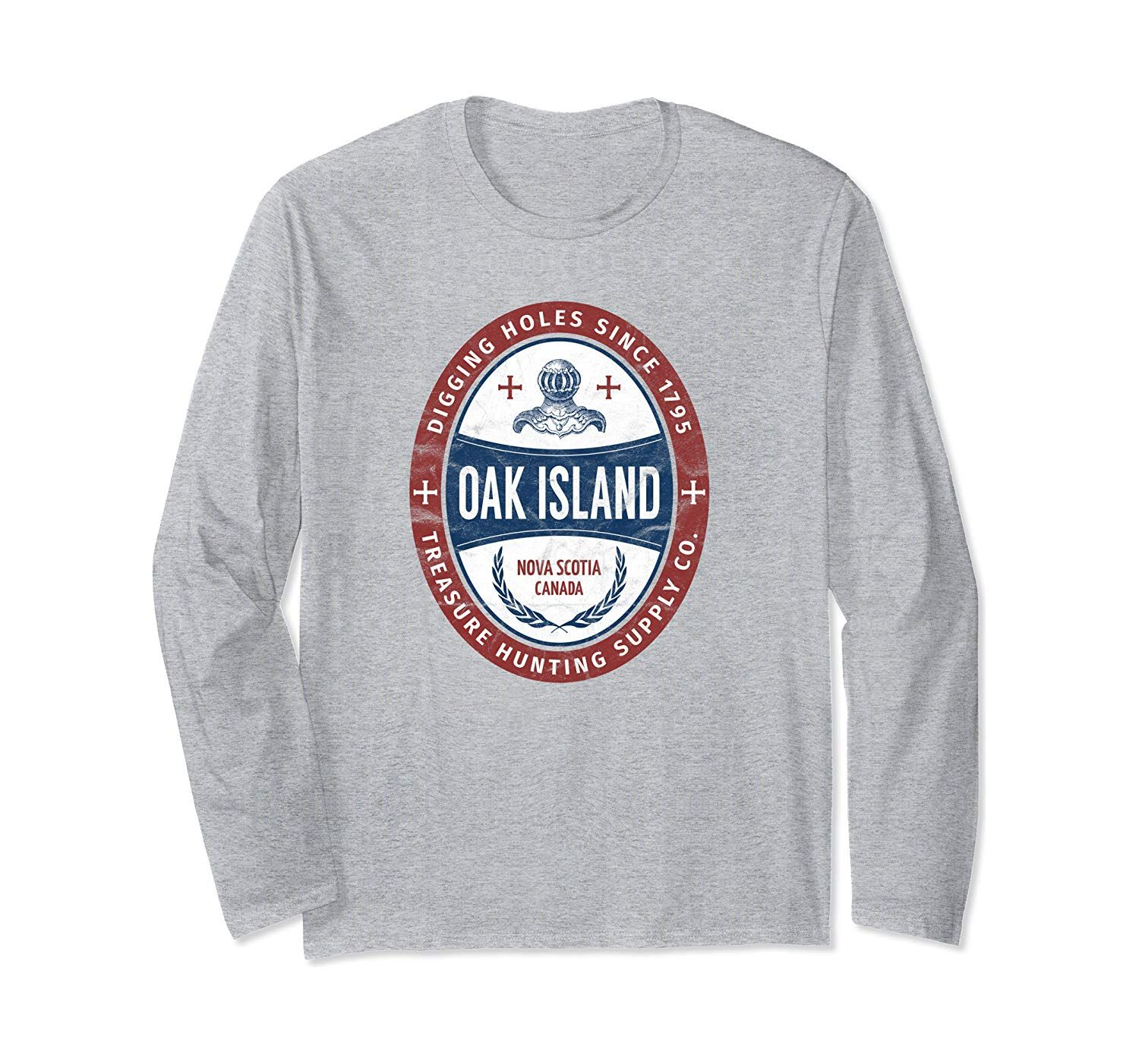 Oak Island Treasure Hunting Retro Templar Knight Treasure Gi Long Sleeve T-Shirt