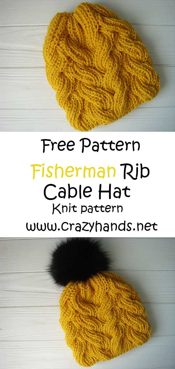 Fisherman's Rib Cable Knit Hat