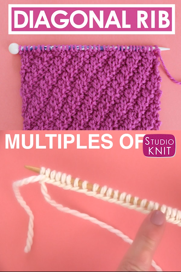 Diagonal Rib Stitch Pattern for Beginning Knitters
