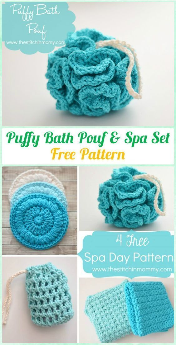 Crochet Puffy Bath Stool & Spa Set Free Instructions - Crochet Spa Gift Idea