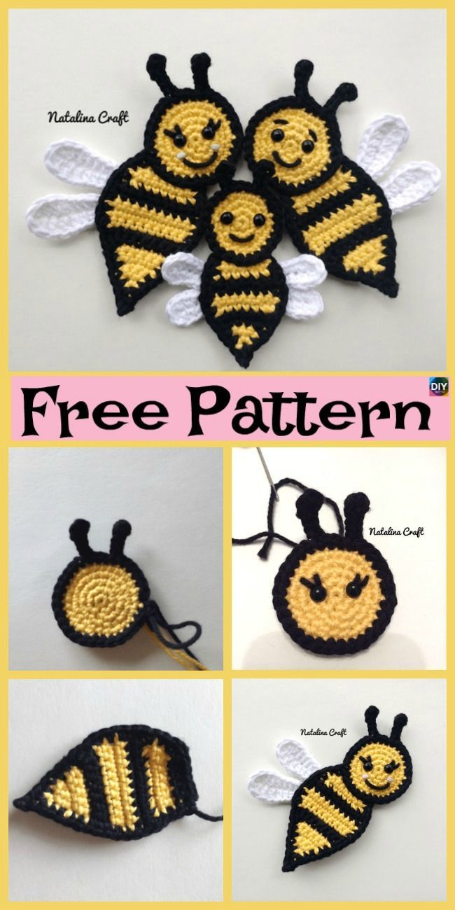 Cute Crochet Applique Bees - Free Patterns - Crochet Ideas