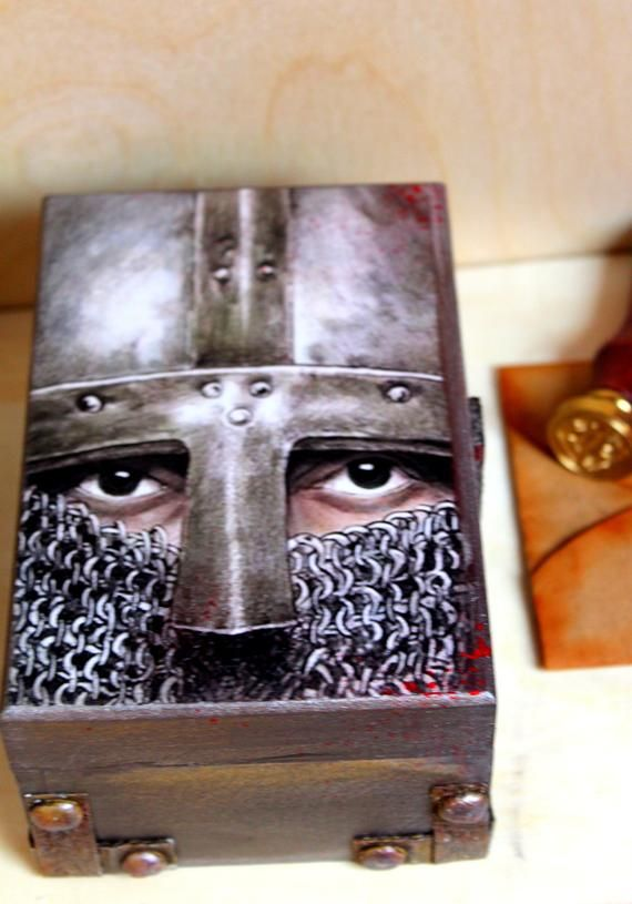 Templar knight box Templar cross Templar warrior Gift for him Masonic decor Мedieval decor  Storage