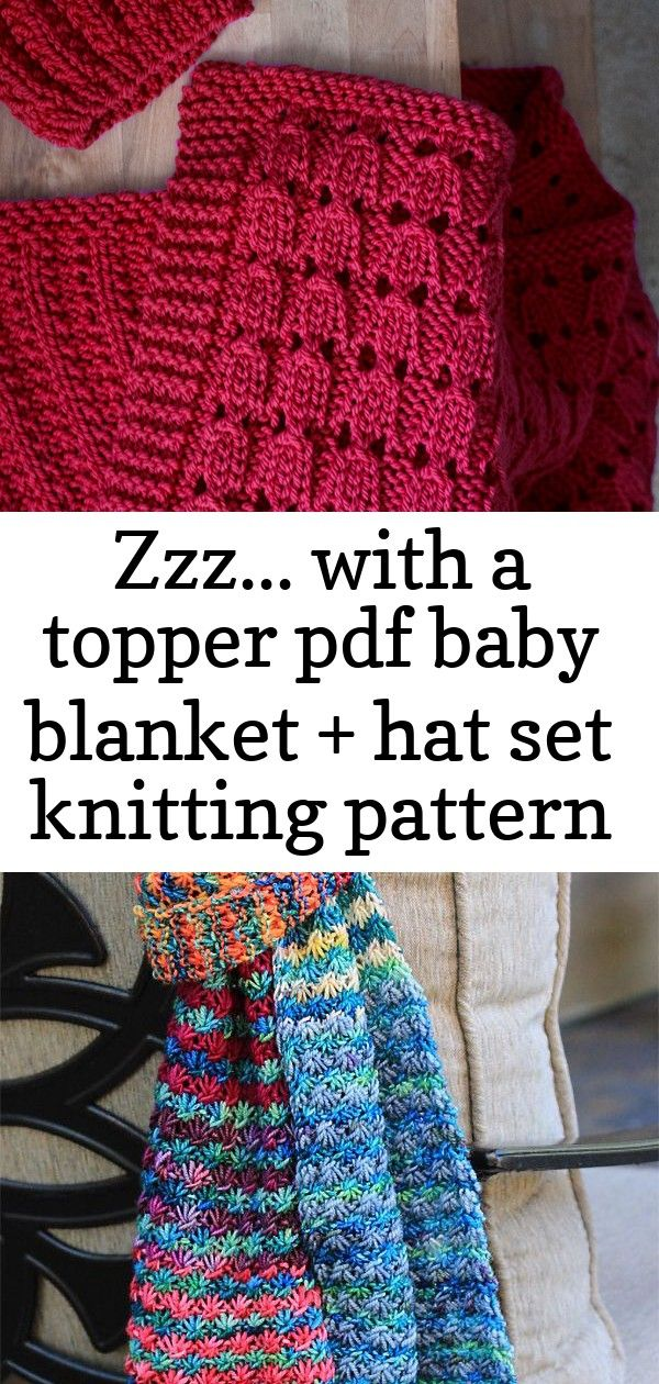 Zzz... with a topper pdf baby blanket + hat set knitting pattern 4