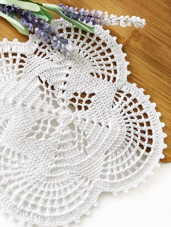 White crochet table doily, Vintage handmade doily, Coffee table placemat, White kitchen decor, Square cotton doily