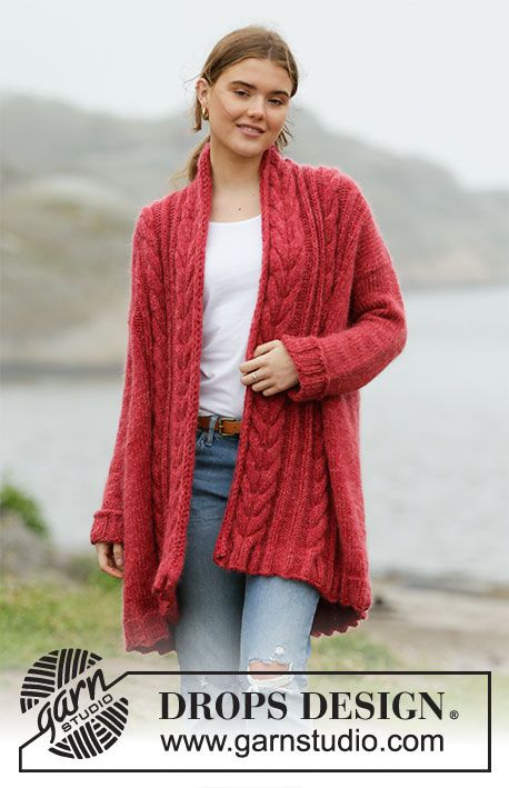 Winter Cardinal Cardigan - Long Knitted DROPS Nepal and DROPS Kid-Si ...