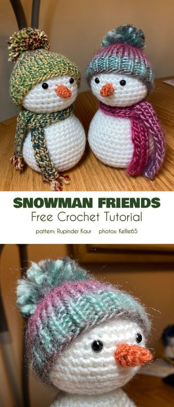 "Snowman Friends Free Crochet Pattern These little fiends measures 5-6"". They can be hand on a Christ"