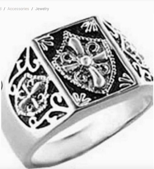 Men's Silver Rhodium Plated  Templar Knights Masonic Ring Size 9 #Unbranded #Mas...