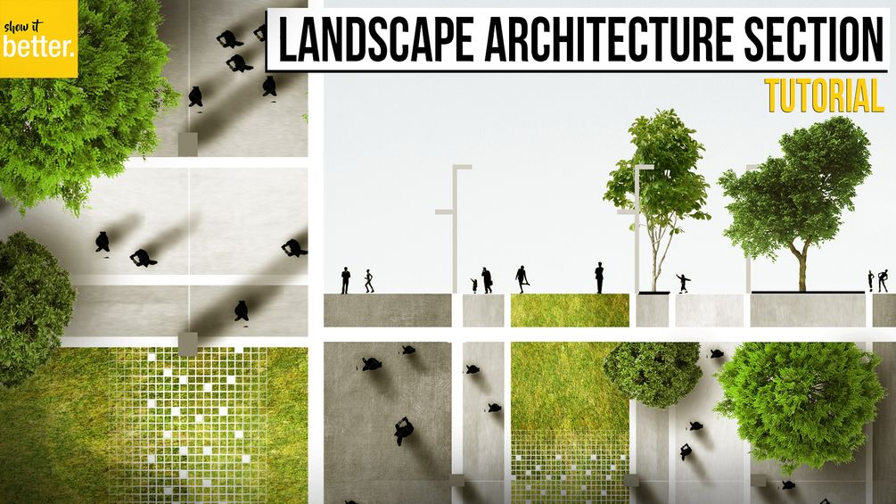 Landscape Architecture Section and Plan in Photoshop