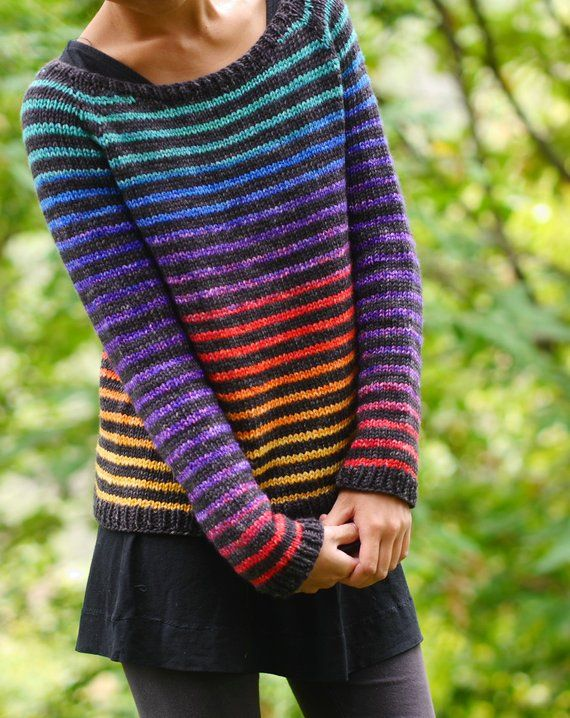 Knitted Pattern PDF: Rainbow Trail Pullover Women's Pullover