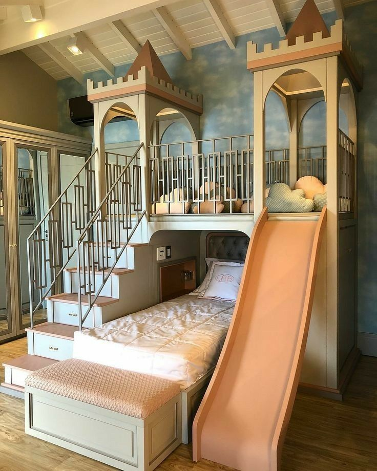 Extend the top to fit large loft bed for both girls and have play area underneat...