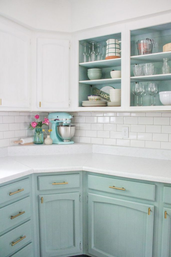 Chalk Paint Blue Kitchen- Annie Sloan- $200 Budget kitchen update before & after