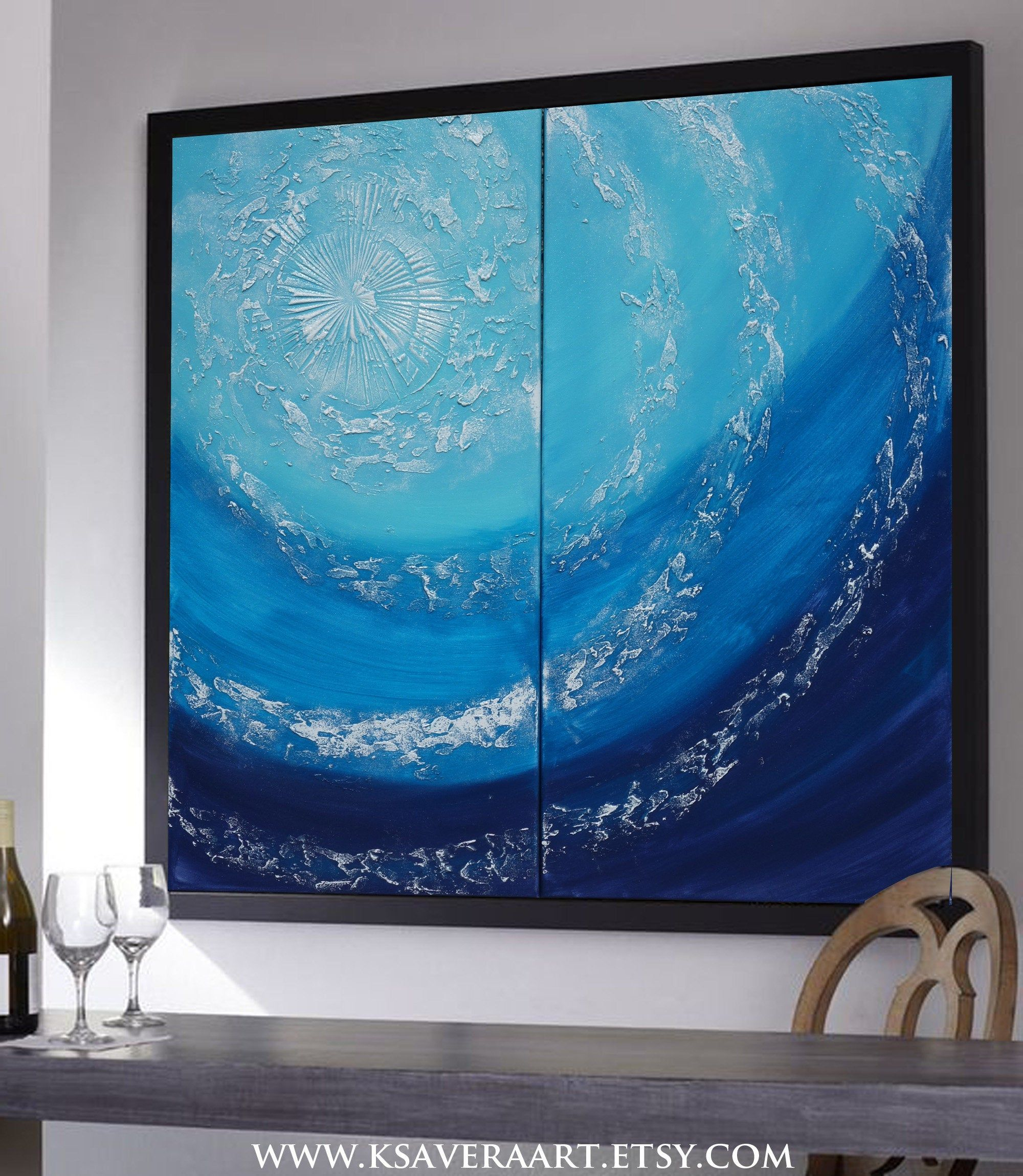 marine decor Blue sea Abstract Painting vertical textured wall art A088 Acrylic Original Contemporary Art by Ksavera mid century modern art
