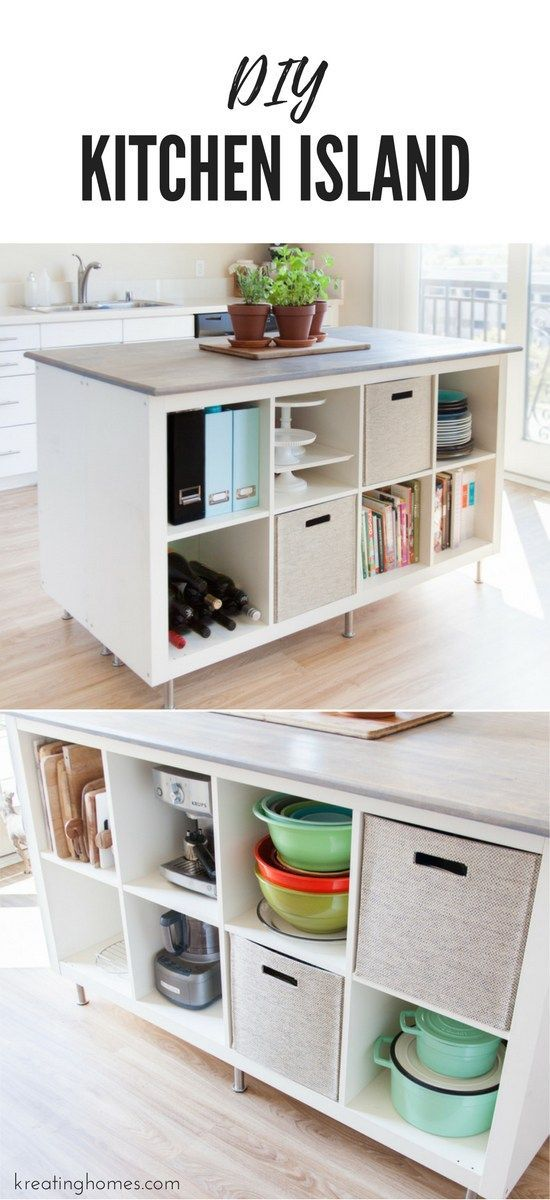 Take a look at this DIY kitchen island that we created with old ikea bookcases! The amo ...