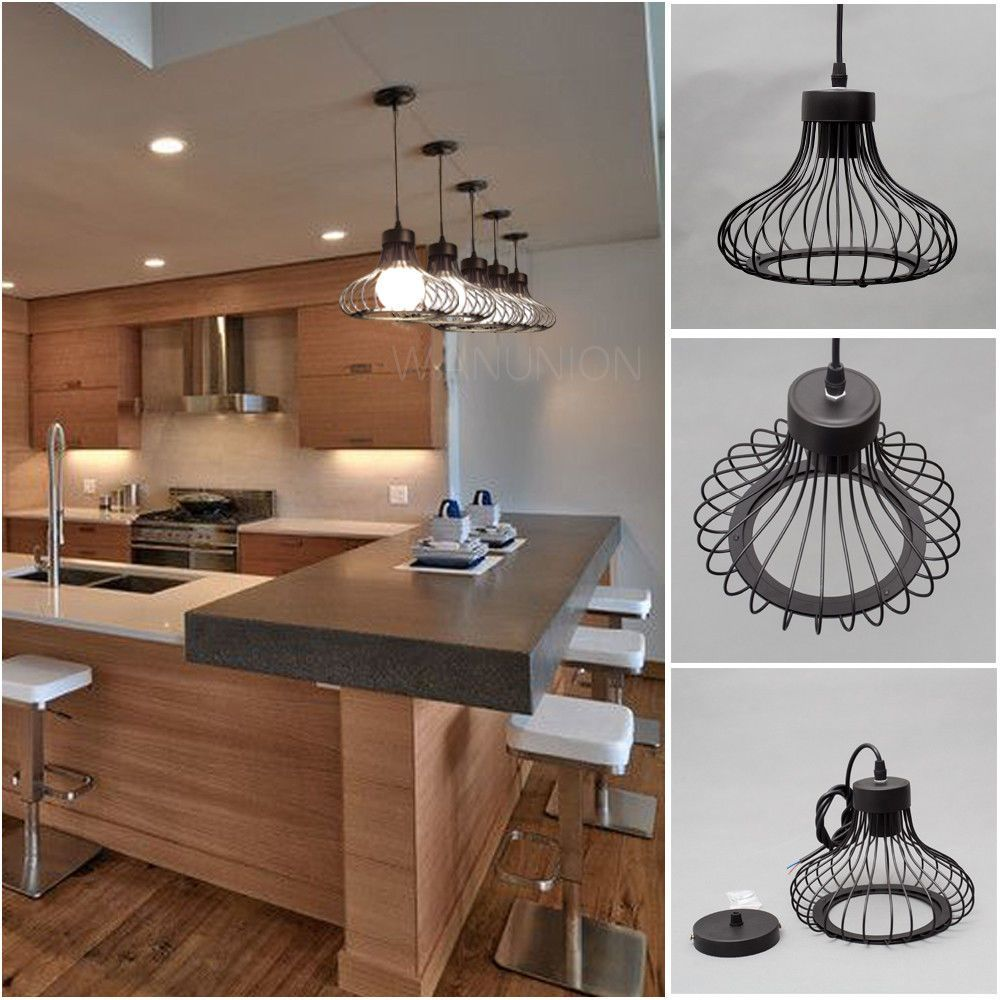 Black Pendant Light Lamp Chandelier Wire Cage Hanging Ceiling Lampshade Fixtures