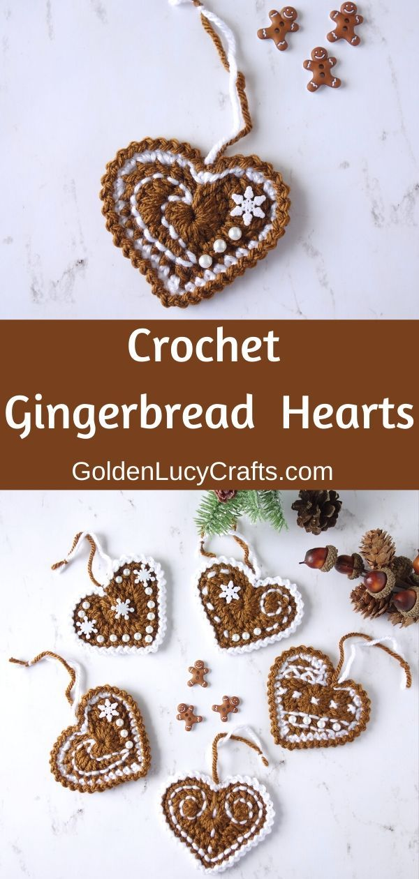 Crochet Gingerbread Heart Ornaments