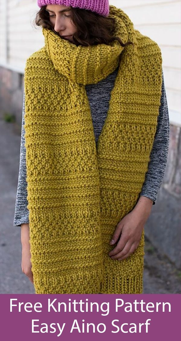 Free Knitting Pattern for Easy Aino Super Scarf - Free Knitting Patterns    #Ain...