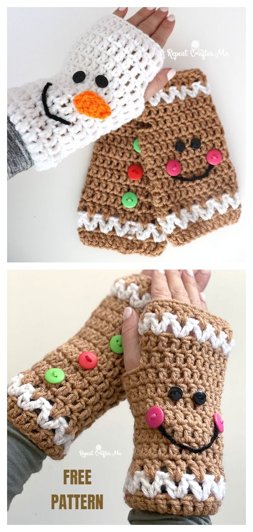 6 Christmas Fingerless Mittens Free Crochet Patterns & Paid