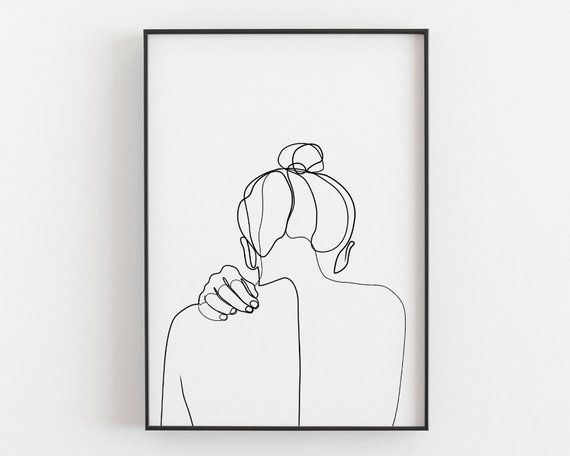 Woman back drawing female art print a line art printable