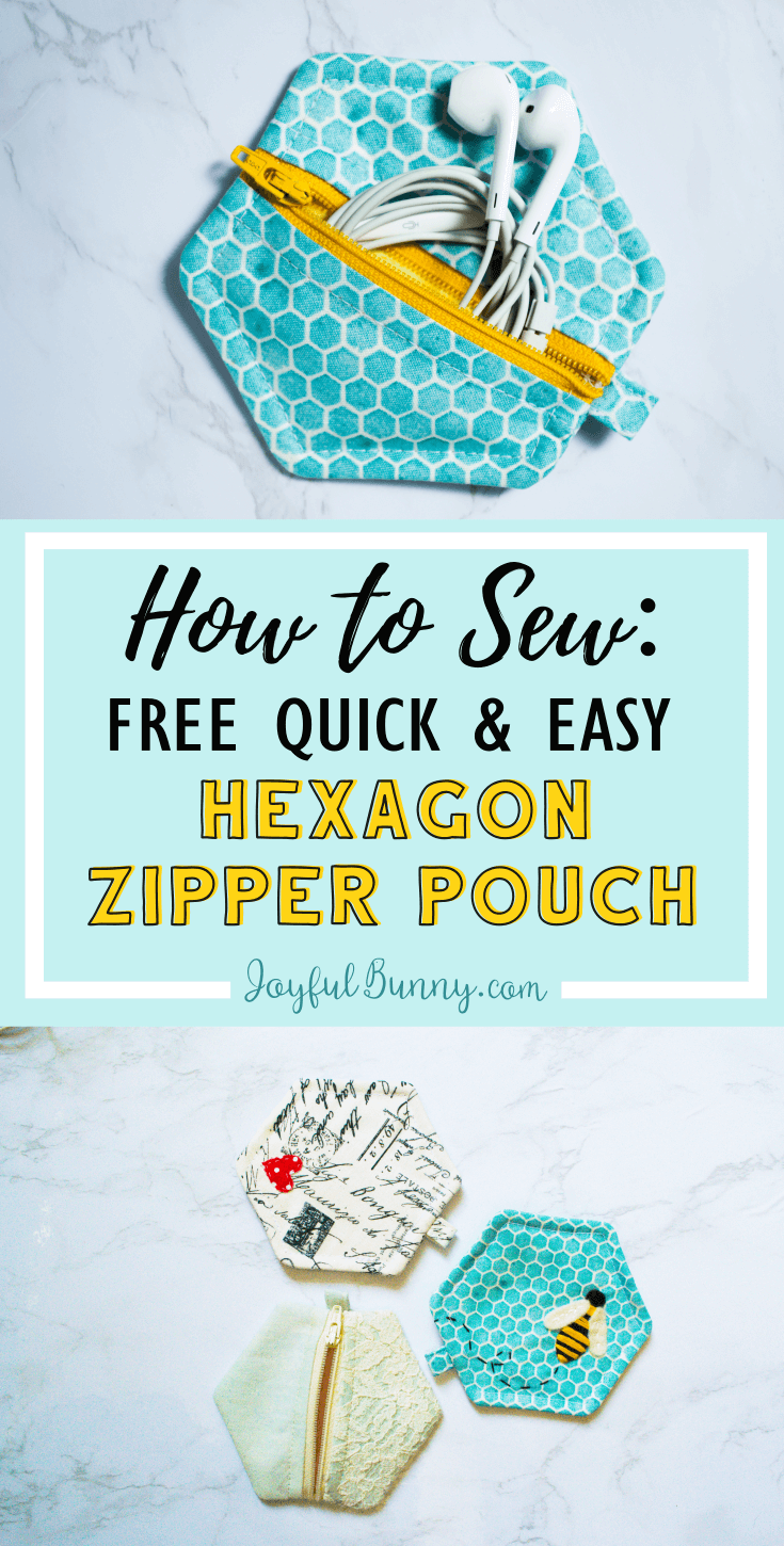How to sew: Free Quick & Easy Hexagon Zipper Pouch