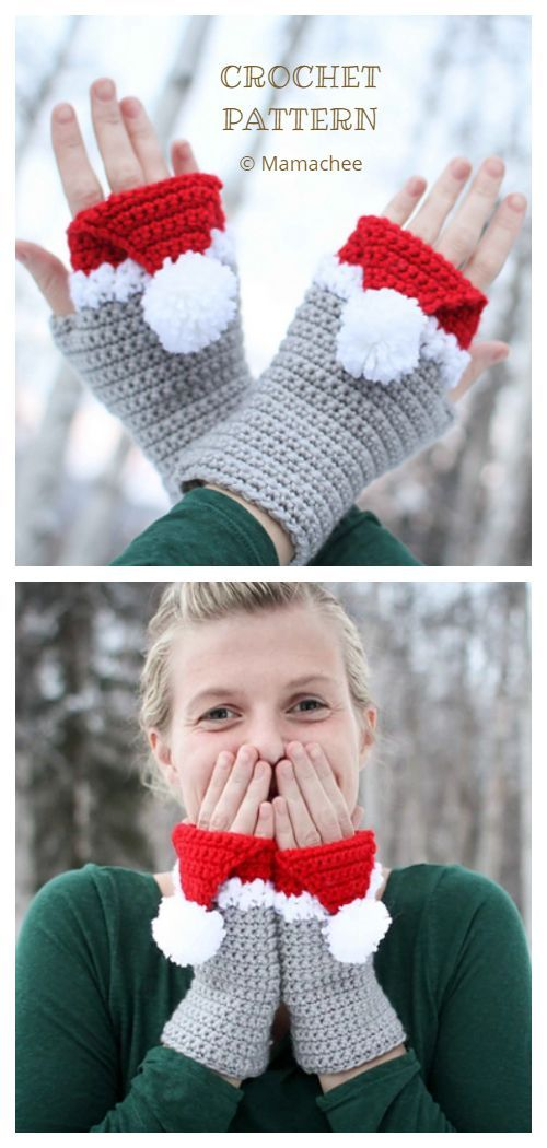 6 Christmas Fingerless Mittens Free Crochet Patterns