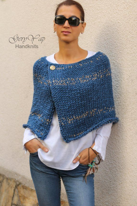 Wool Poncho Cape Pattern - Winter Poncho Pattern for Women - Easy to Knit Pattern - Beginner Pattern Instant Download Knitting Pattern