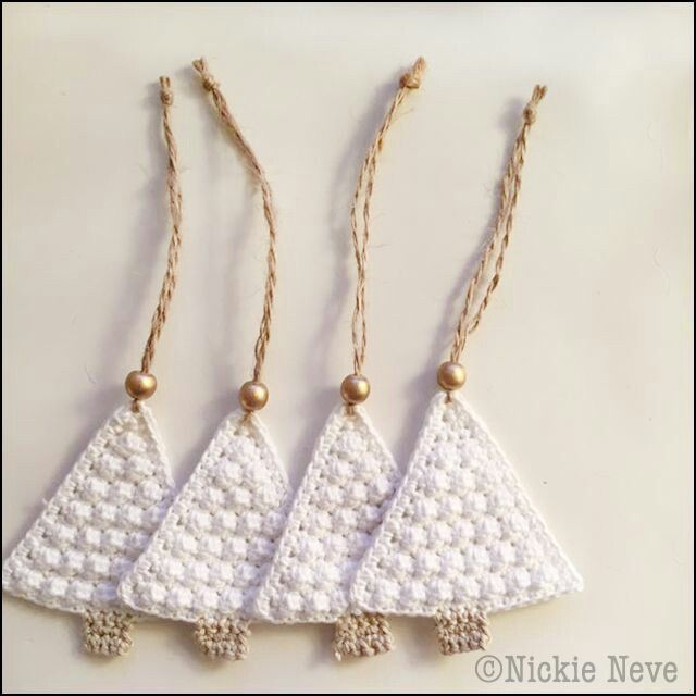 White crochet Christmas tree decorations