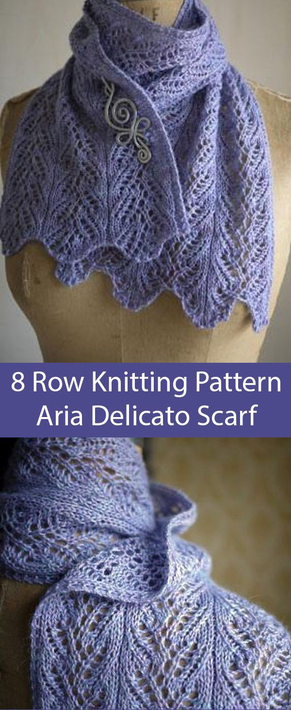 Knitting Pattern for 8 Row Repeat Aria Delicato Scarf