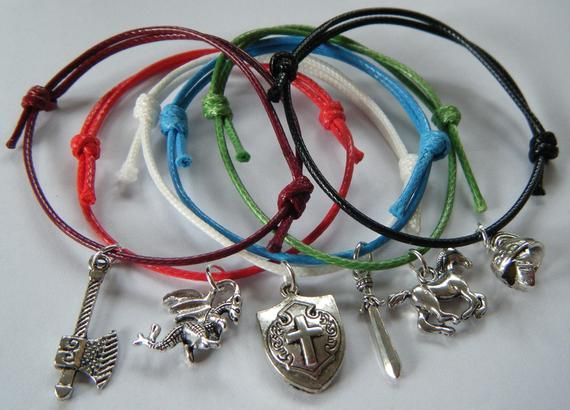 Pack of 6 Dragon Knight Medieval Theme Bracelets Boys Girls Party Gifts Favors Prizes Waxed Cord Fri