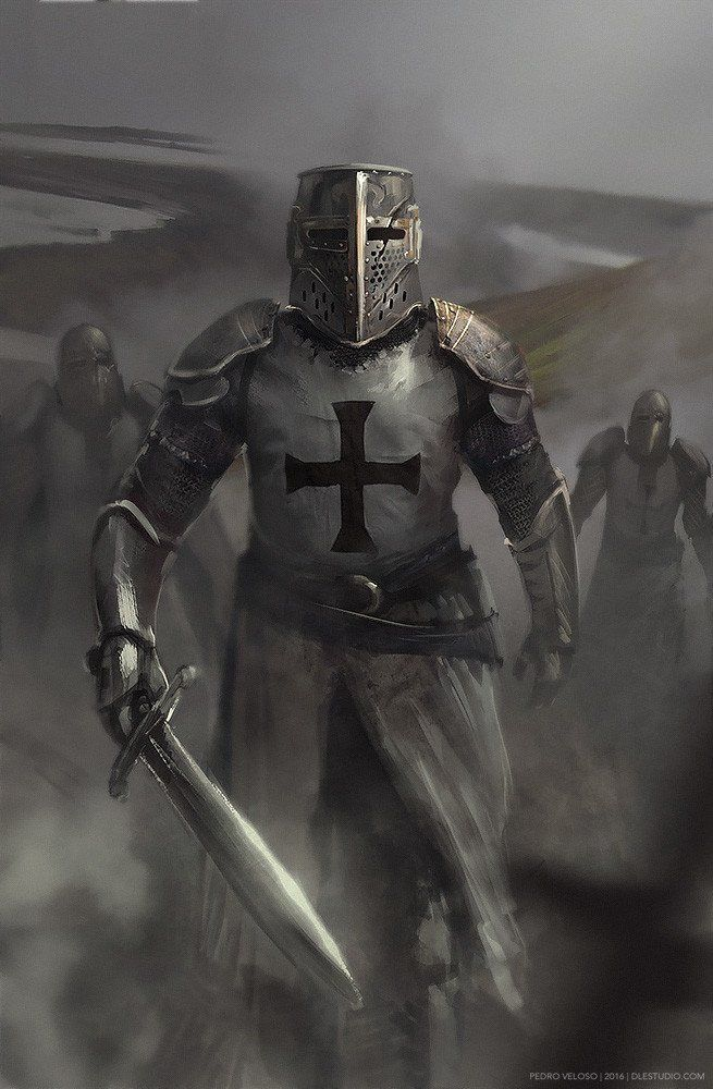 m Cleric LN Med Armor Helm Sword Patrol Templar Knight by Pedro Veloso Imaginary...