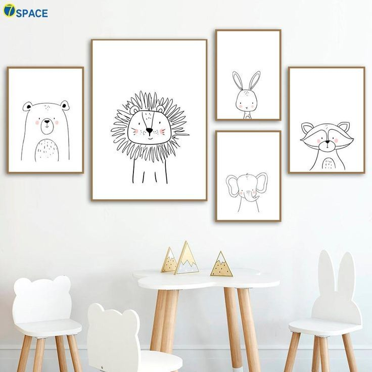 Lion Rabbit Bear Raccoon Wall Art Canvas Painting Nordic Posters and Prints Kids Room Wall Art
