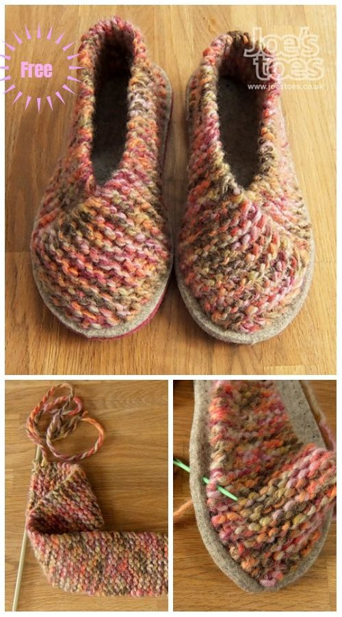 Simple Garter Stitch Knit Crossover Slippers Free Knitting Pattern