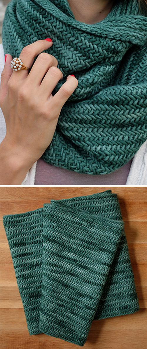Big Herringbone Cowl - Free Knitting Pattern (Beautiful Skills - Crochet Knitting Quilting)